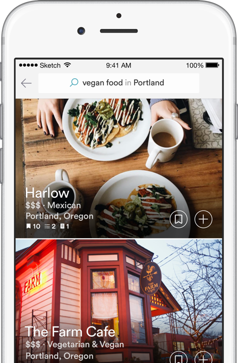 Vegan Food in Portland search screenshot