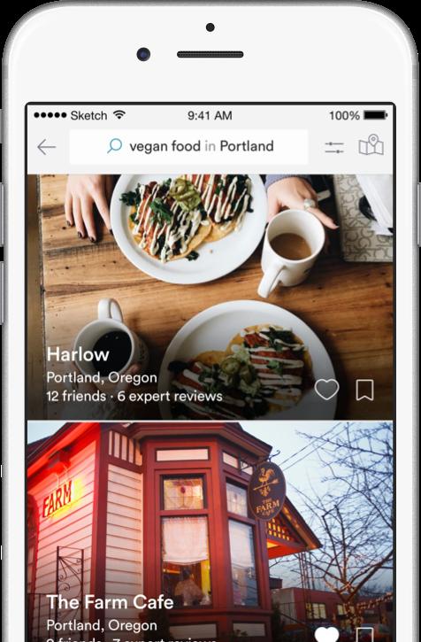 Vegan Food in Portland search screenshot